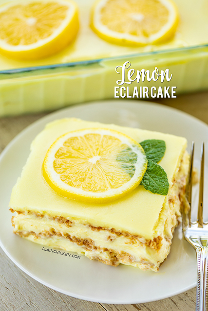 No-Bake Lemon Eclair Cake Recipe - lemon pudding, cool whip and  graham crackers layered and topped with lemon frosting. It gets better the longer it sits in the fridge - it is just SO hard to wait to eat it. SOOO good. People go nuts over this easy dessert recipe! Great for parties and potlucks. There are NEVER any leftovers! #nobakedessert #dessert #lemon #nobake