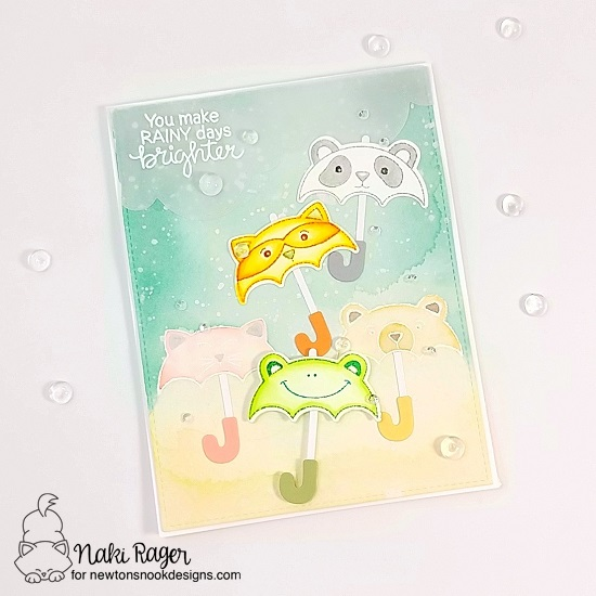 Umbrella animals Card by Naki Rager | Umbrella Pals Stamp Set and Sky Borders Die Set by Newton's Nook Designs #newtonsnook #handmade