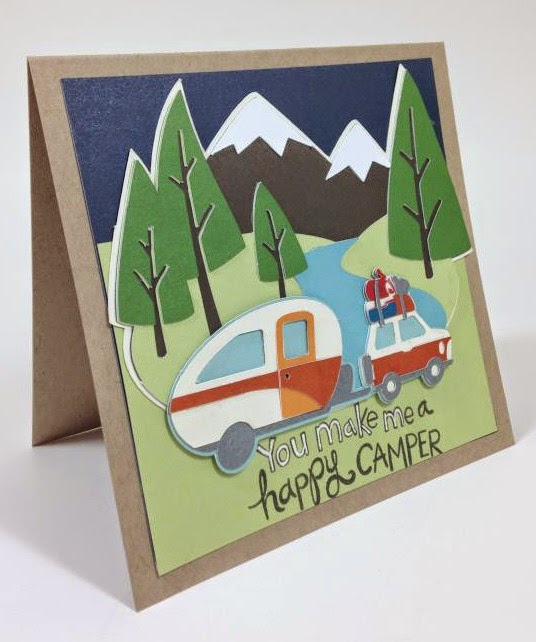 Cricut You make me a happy camper card sideview