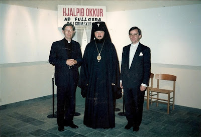 Исландия, Рейкьявик, 1986 год. Будущие Предстоятели. Архиепископ Смоленский и Вяземский Кирилл и священник Карл Сигурбьрнссон
