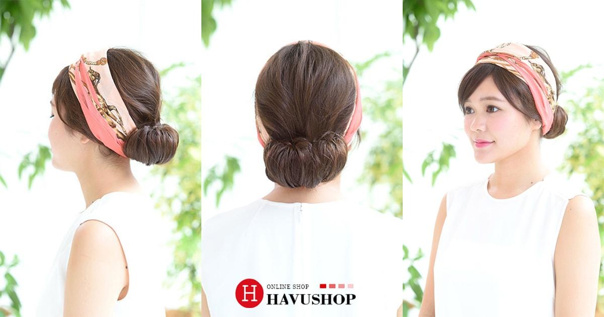 Bộ sưu tập những kiểu tóc đơn giản cho các mẹ Kiểu tóc búi mùa hè với chiếc khăn lụa sành điệu