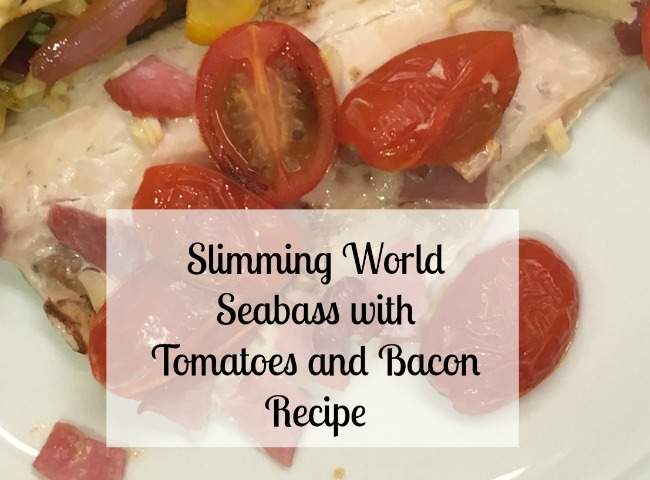 Slimming-world-sea-bass-with-tomatoes-and-bacon-recipe-text-over-image-of-meal