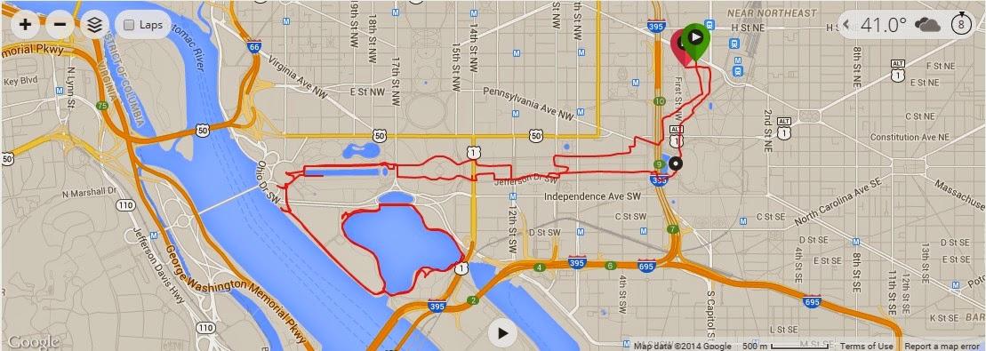 RunHikePlay My Long Run Turned DC Running Tour - How far did i run map