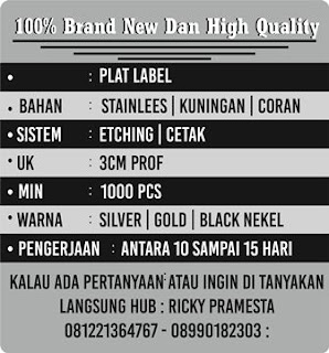PLAT LABEL ALLOY | PLAT LABEL KUNINGAN | PLAT LABEL STAINLESS