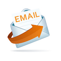 An email logo with an orange arrow and a letter with the word email in big bold orange letters