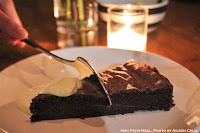 """Chardon"", Chocolate Cake, and Crème fraîche & Pineapple, Ginger Syrup, and Lime at Le Garage"