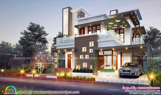 Decorative ultra modern Kerala home plan