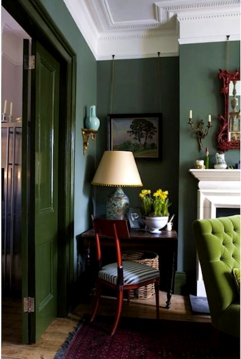 lovely dark green living room wall | Sure Fit Slipcovers: Decorating With Emerald Green