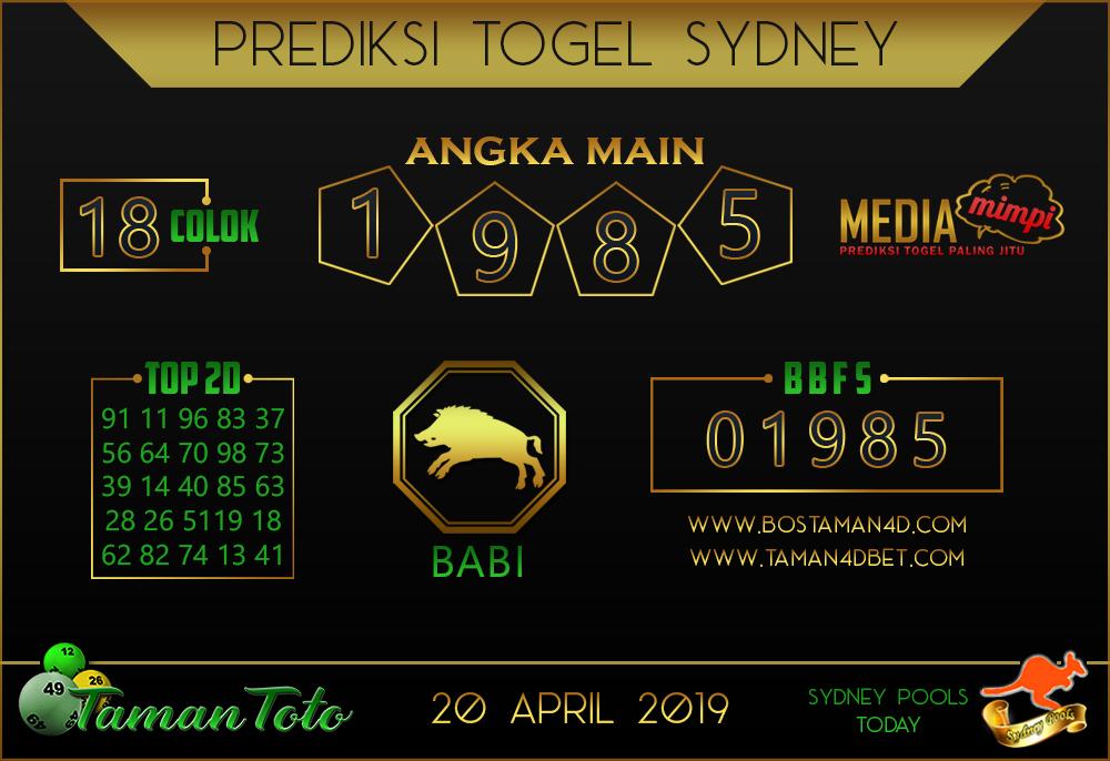 Prediksi Togel SYDNEY TAMAN TOTO 20 APRIL 2019