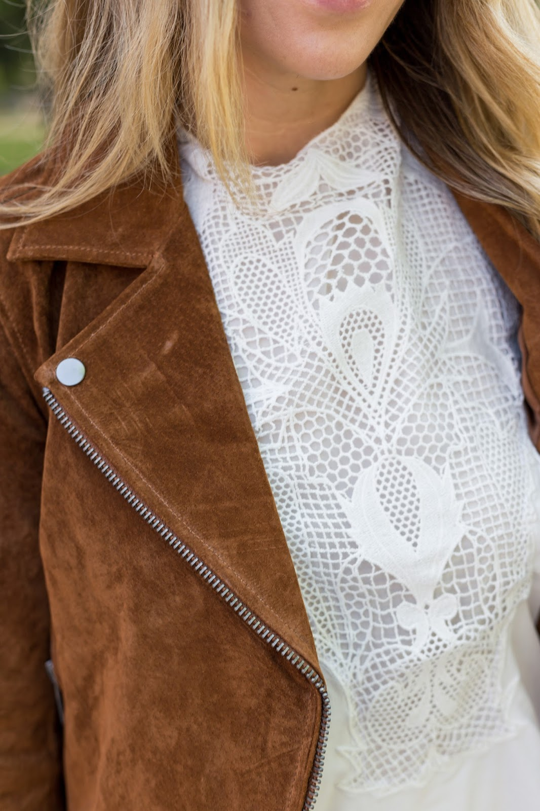 Suede Jacket Lace Top  - The Must Have Brown Suede Jacket For Fall by Colorado fashion blog