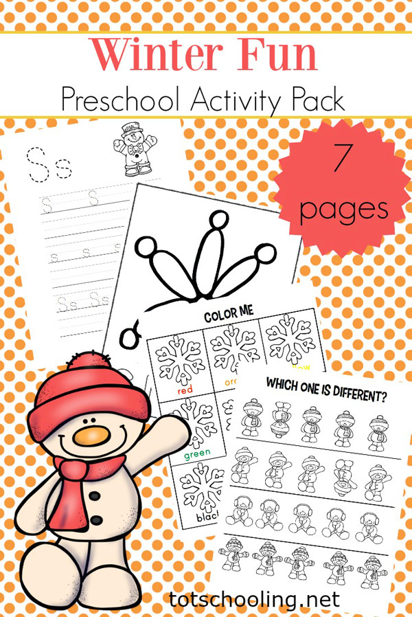 FREE printable Winter themed worksheets for preschool and pre-k kids, featuring snowmen and snowflakes. Great snow-themed Winter activities to practice handwriting, visual discrimination, math and literacy skills.