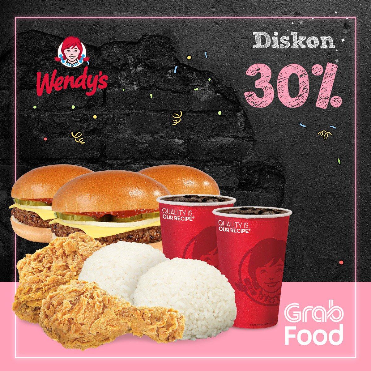 #Wendy's - Promo Diskon 30% Pakai Aplikasi GrabFood (s.d 31 Jan 2019)