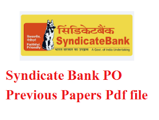Syndicate Bank PO Previous Papers