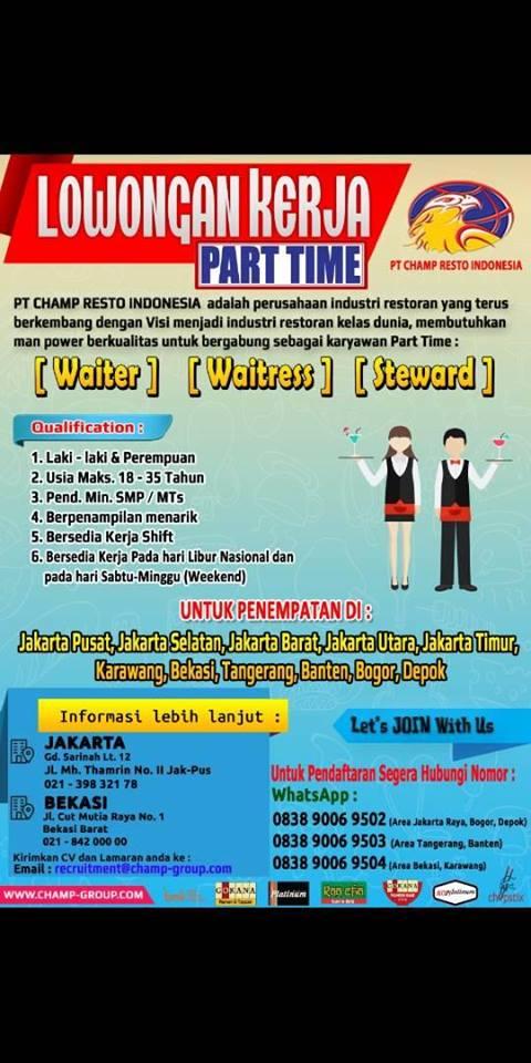 Lowongan Kerja Part Time Waiter Champ Resto Indonesia Pencari Kerja