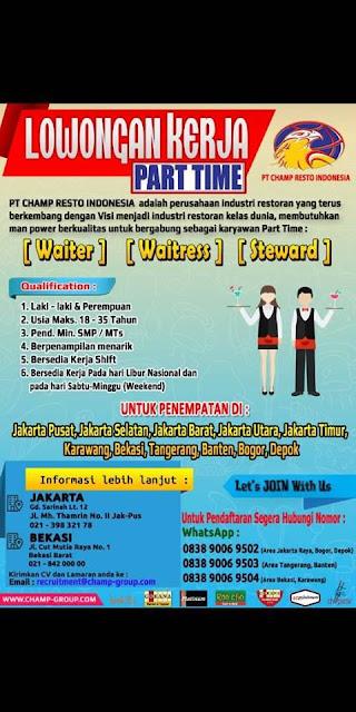 lowongan kerja part time waiter champ resto indonesia