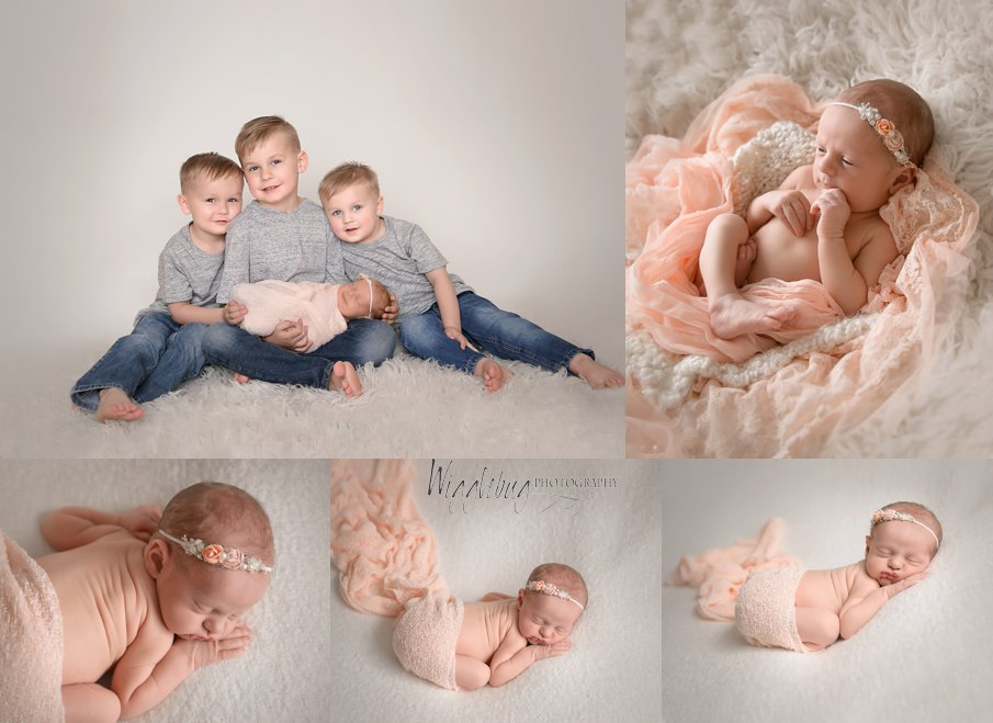 Newborn baby girl and three brothers DeKalb Sycamore, IL Photographer
