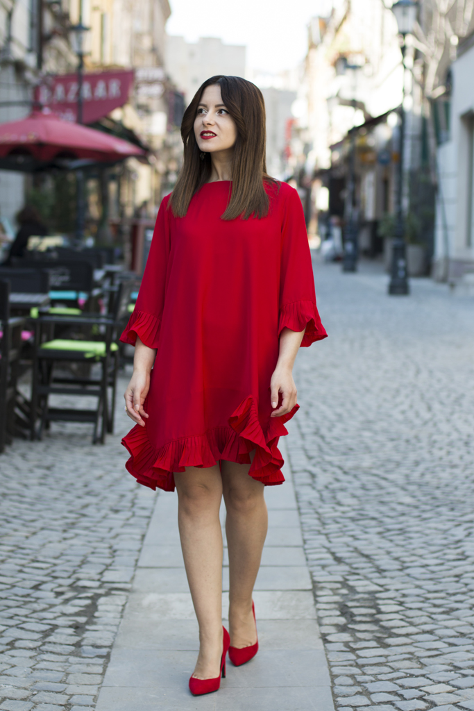 red dress with red shoes