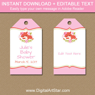 fox baby shower party favor tags for girl woodland baby shower