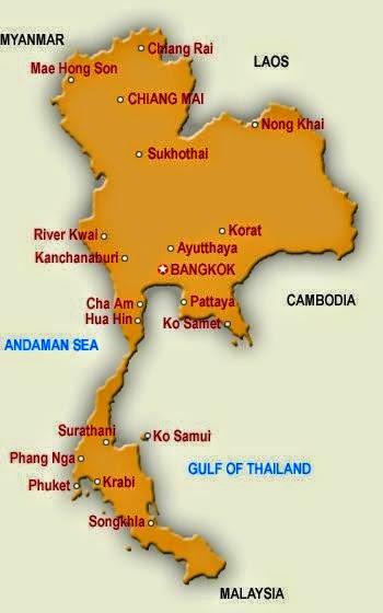 Karta Centrala Thailand.Thailand Semester Och Resor Juni 2014