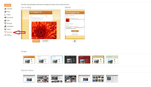 change template on blogger