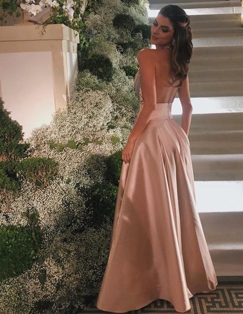 vestido longo rose estilo princesa