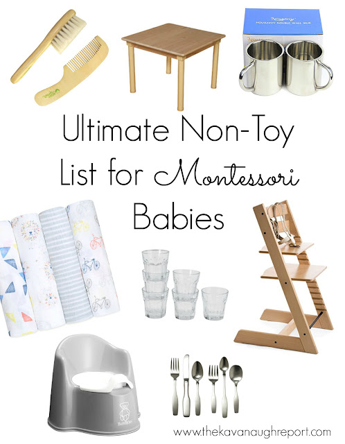 Montessori non-toy gift guide, practical items for Montessori homes and families.