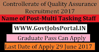 Controllerate of Quality Assurance Recruitment 2017– Multi Tasking Staff