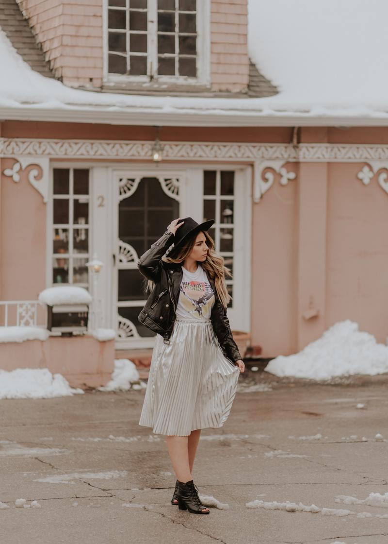 metallic skirt, leather jacket, free people style