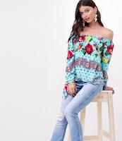 Moda Verão Blusa Ombro a Ombro Floral