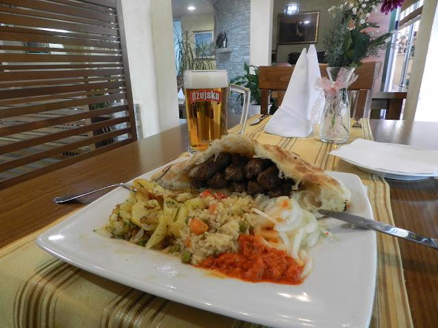 A local plate, cevapi, at one of Medjugorje's finest restaurants, Filii Restoran