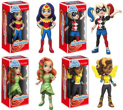 DC Super Hero Girls Rock Candy Vinyl Figures by Funko - Wonder Woman, Harley Quinn, Poison Ivy & Bumblebee