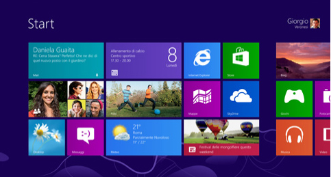 La nuova interfaccia Start di Windows 8