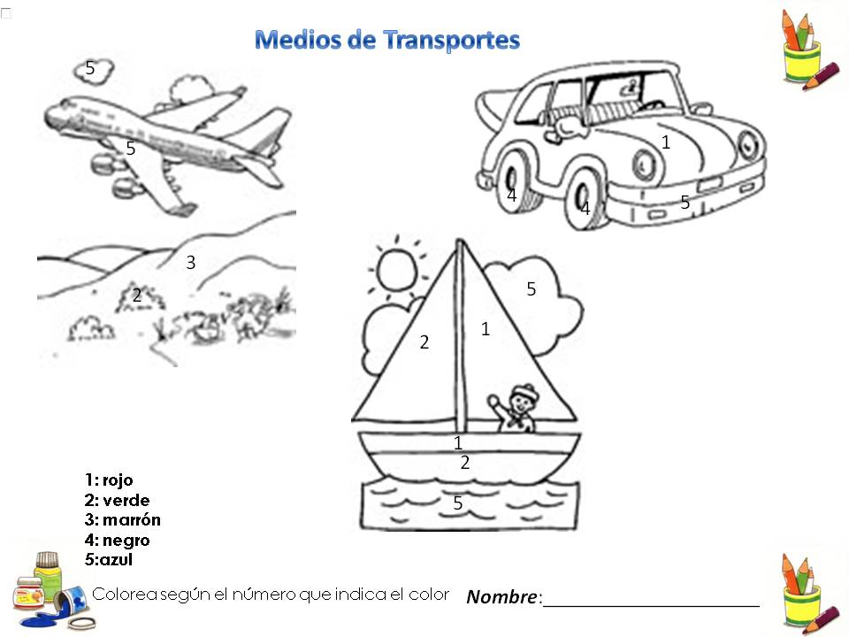 Un Mundo Interactivo De Los Medios De Transporte: Colorea