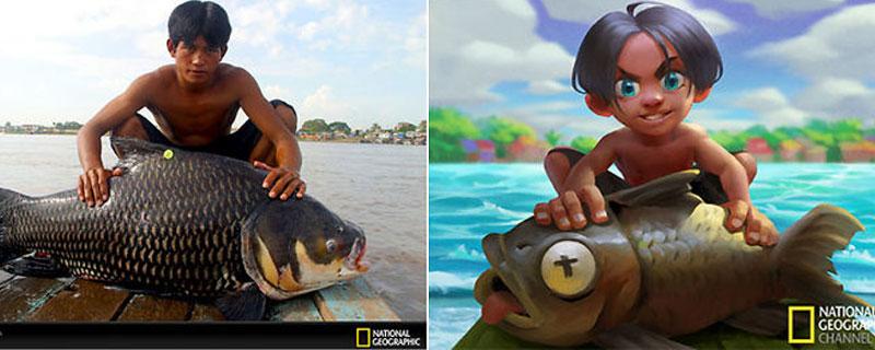 Fotografías de National Geographic convertidas en ilustraciones Disney
