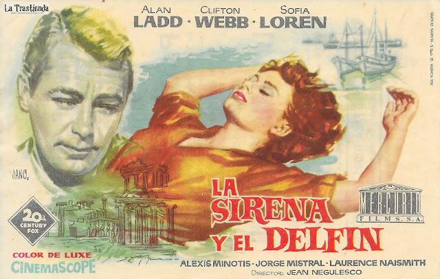 La Sirena y el Delfín - Programa de Mano - Alan Ladd - Sofia Loren - Clifton Webb