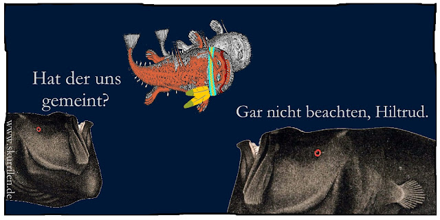 Tiefseefische Grusel Horror-Parodie Ozean Comic Humor Satire Seeungeheuer komisch Collage
