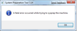 SCCM capture of Windows 8 fails during Sysprep stage - Fatal error occurred while trying to sysprep the machine 2