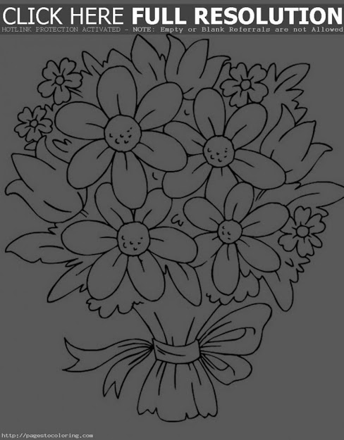 Delightful Coloring Pages Draw Easy Flowers Simple Rose Bouquet Coloring  Pages Flower Of Throughout Stylish Draw
