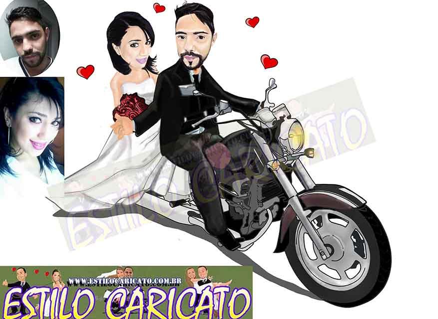 caricatura dos noivos na moto.