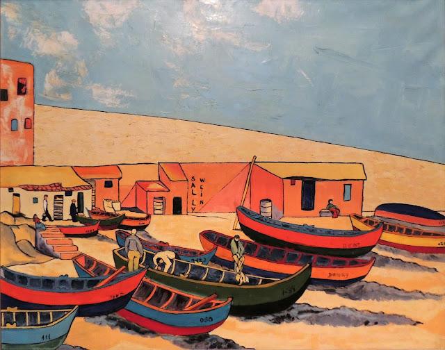 Sally Weintraub arte naíf surrealismo mar barcos caleta