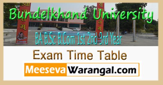 Bundelkhand University BA B.Sc B.Com 1st 2nd 3rd Year Exam Time Table 2018