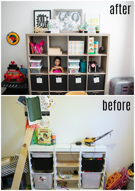 before and after of a small playroom makeover