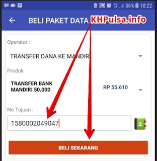 Masukkan nomor rekening bank mandiri anda dan klik BELI SEKARANG