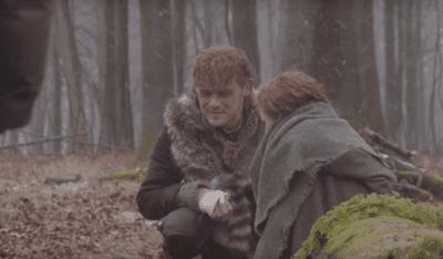 La escena original de Jamie y Brianna se grabó con frío y nieve.