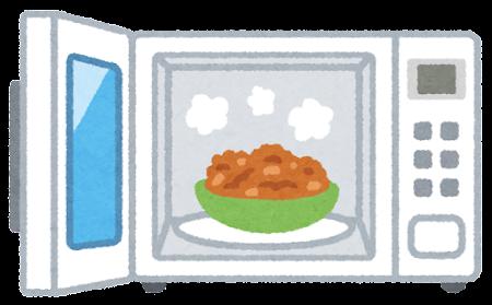 レンジで暖められた食べ物のイラスト