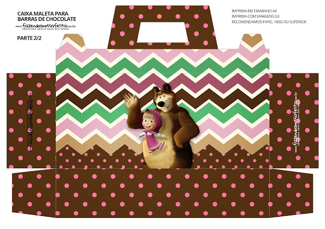 Masha and the Bear Free Printable Suitcase Box.