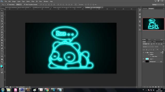 Cara membuat neon effect pada gambar cartoon bagi pemula..