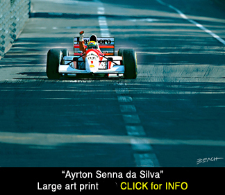 Ayrton Senna art scene, McLaren F1 reproduction print for sale