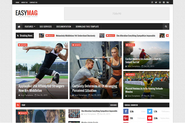 Easy Mag Blogger Template Premium Free Download