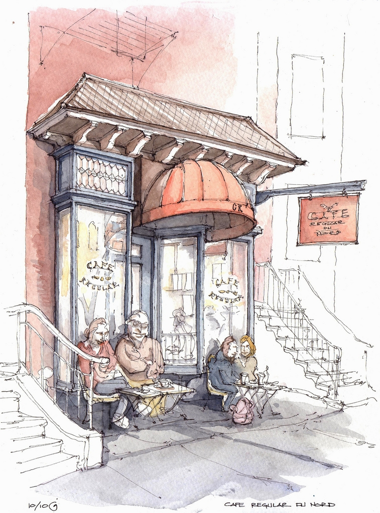 03-Cafe-Regular-du-Nord-James-Anzalone-Freehand-Sketches-of-Park-Slope-Brooklyn-USA-www-designstack-co